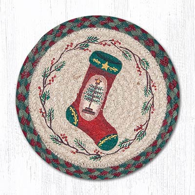 Feather Tree Braided Tablemat - Round (10 inch)