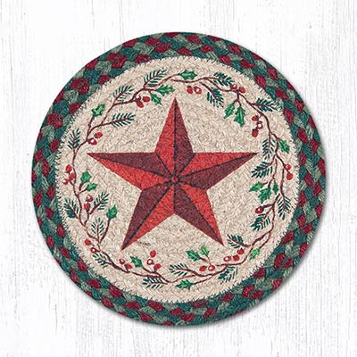Holiday Barn Star Braided Tablemat - Round (10 inch)