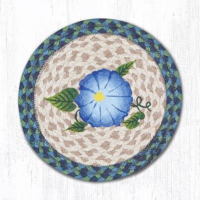 Blue Flower Braided Tablemat - Round (10 inch)