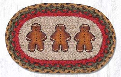 Gingerbread Man Hand Braided Tablemat - Oval (10 x 15 inch)
