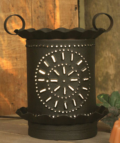 Punched Pinwheel Junior Round Wax Warmer - Rustic Brown