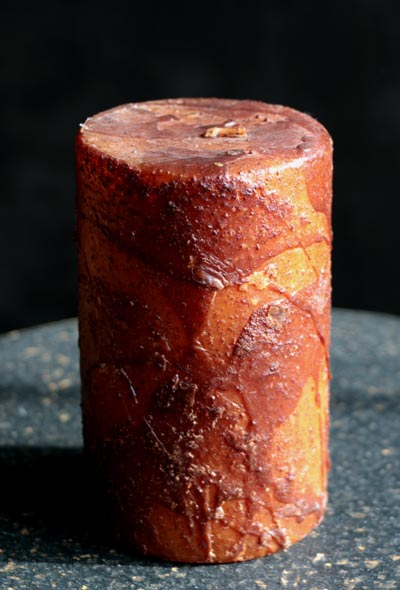 Mustard Primitive Dripped Wax Pillar Candle - 3 x 5 inch