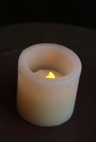 Ivory Battery Pillar with Tealight
