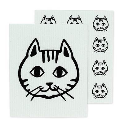 Cat Faces Swedish Dish Cloths (Set of 2)