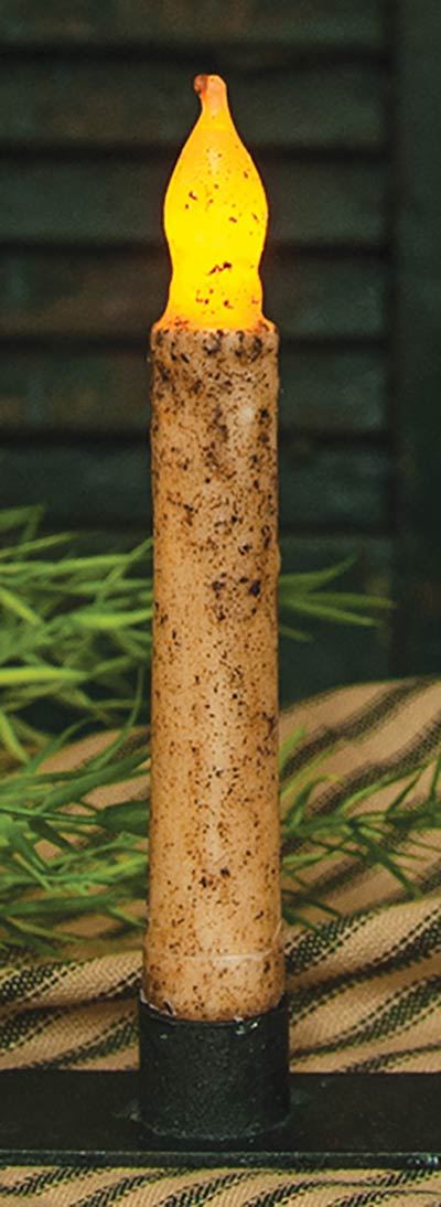 Burnt Ivory / Cinnamon Battery Taper Candle - 6 inch