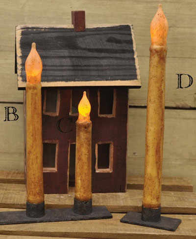 Burnt Ivory / Cinnamon Battery Taper Candle with Timer - 9 inch