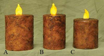 Burnt Mustard Battery Pillar Candle with Timer - 2 x 3 inch