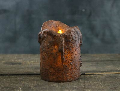 Burnt Mustard Dripped Pillar Candle - 4 x 3 inches