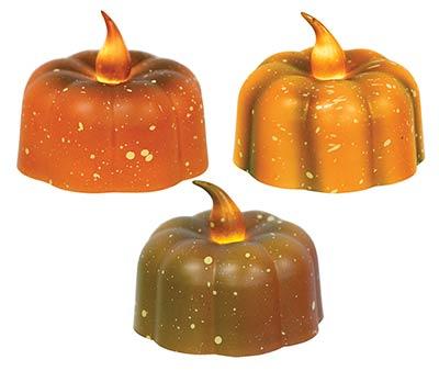 Pumpkin Battery Tealight Candles with Bulbs (Set of 3)