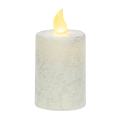Rustic White Timer Pillar Candle - 2.25 x 4 inch