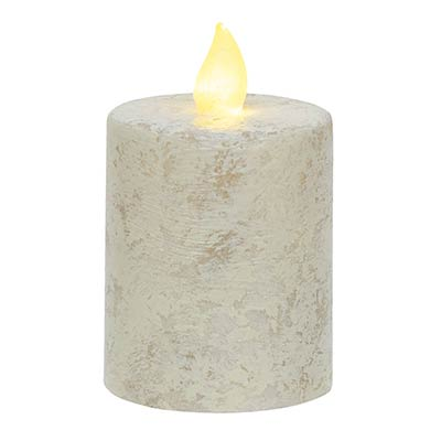 Rustic White Timer Pillar Candle - 2.5 x 4 inch