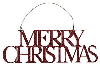 Merry Christmas Glitter Ornament - Red