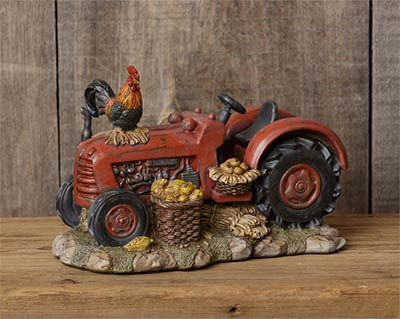 Red Tractor with Rooster Figurine