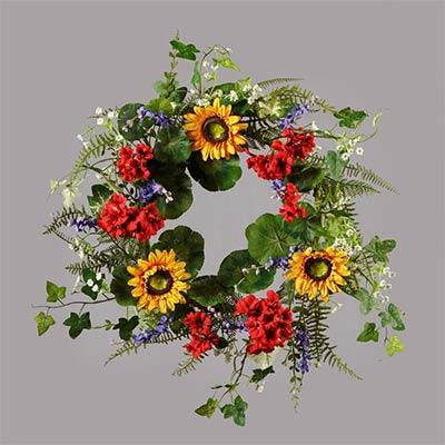 Geranium & Sunflower Wreath