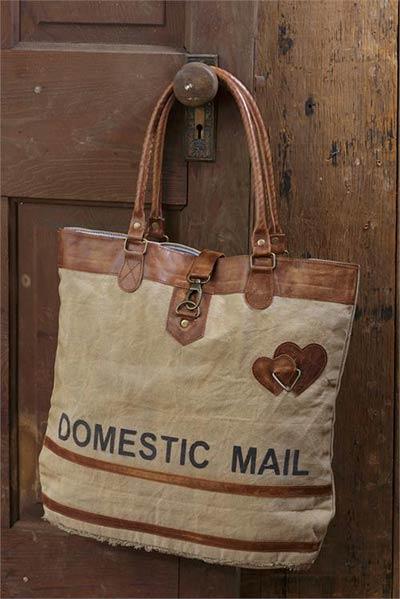 Domestic Mail Vintage Canvas Handbag