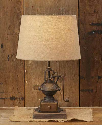 Coffee Grinder Table Lamp with Burlap Shade