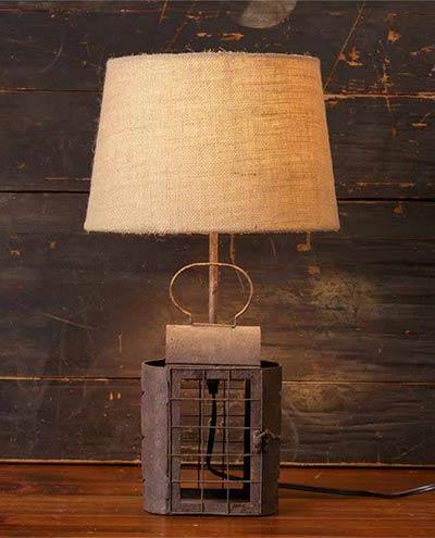 Rusty Lantern Table Lamp with Burlap Shade
