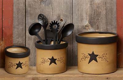 Primitive Black Star Kitchen Crocks (Set of 3)