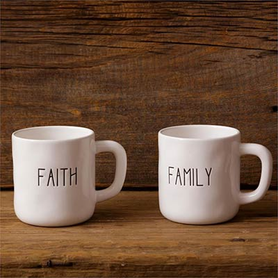 Faith & Family Farmhouse Mugs (Set of 2)