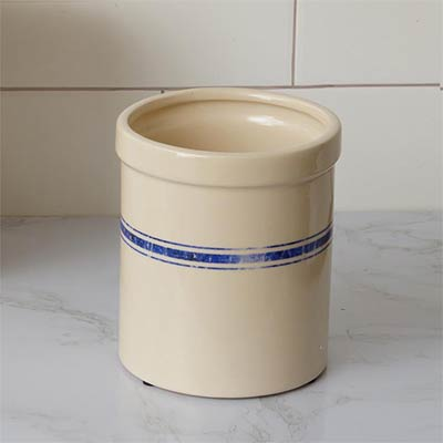 Blue Grain Stripe Pottery Crock - Small