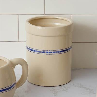 Blue Grain Stripe Pottery Crock - Large