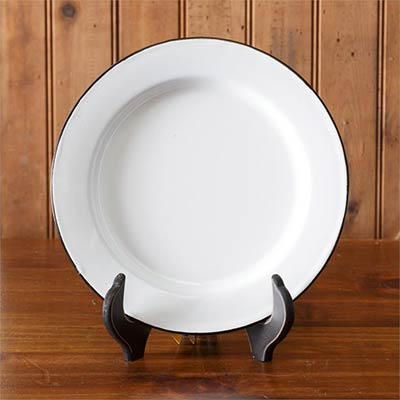White Enamelware Dinner Plates (Set of 2)