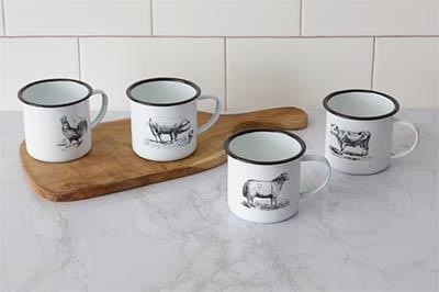 Farm Animal Enamelware Mugs (Set of 4)