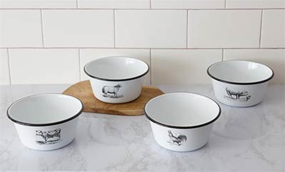 Farm Animal Enamelware Bowls (Set of 4)