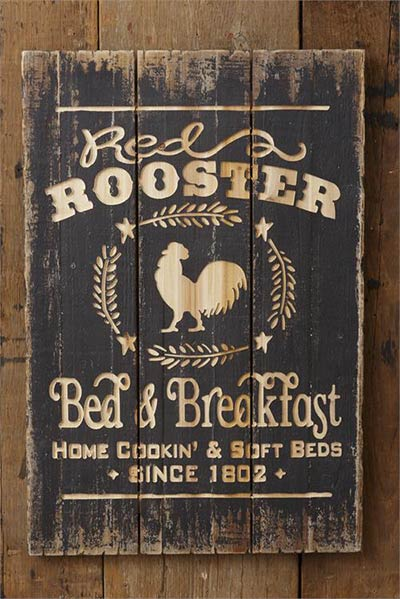 Red Rooster Bed & Breakfast Sign