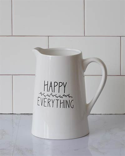 Happy Everything White Pitcher