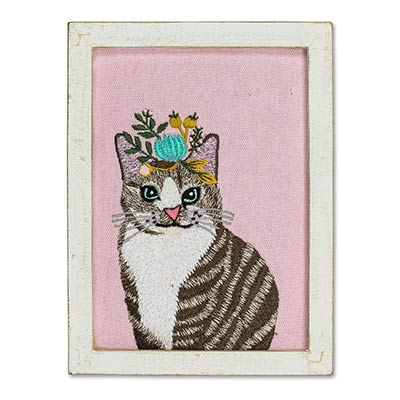 Cat with Flowers Wall Art