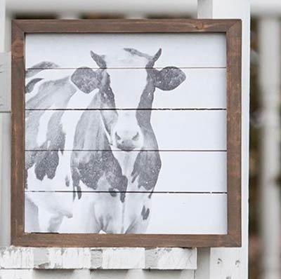 Farmhouse Cow Framed Sign