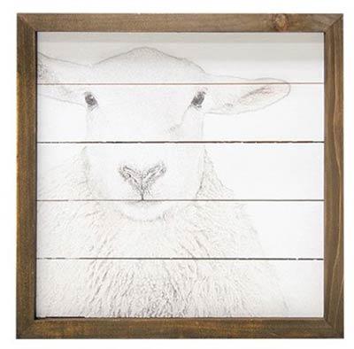 Farmhouse Sheep Framed Sign