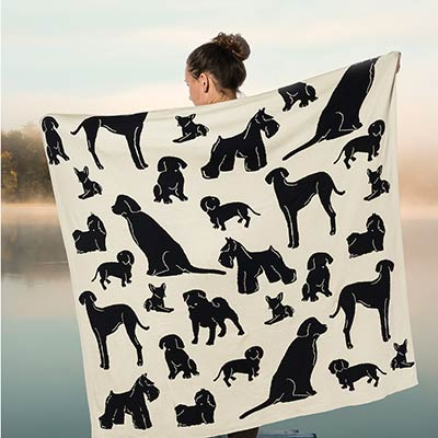 Dog Silhouette Knit Throw Blanket