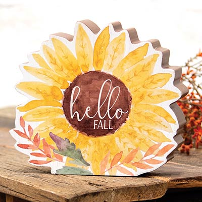 Hello Fall Chunky Watercolor Sunflower Sitter
