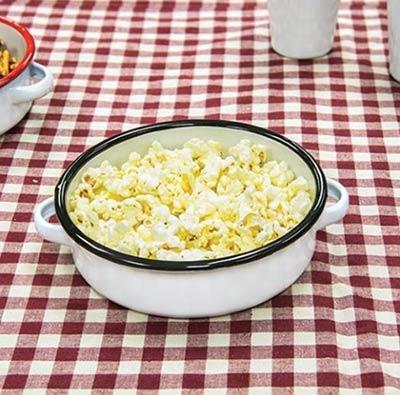 White Enamel Mini Dish with Black Rim