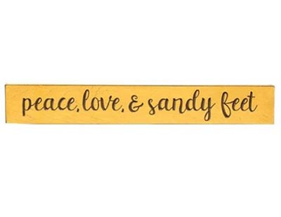Peace, Love, & Sandy Feet Engraved Wood Sign