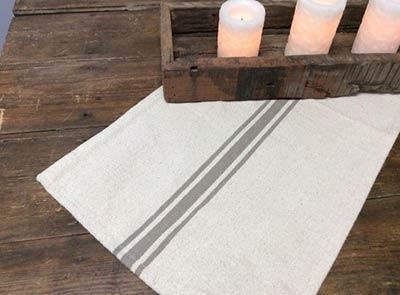 Gray Stripe 53 inch Table Runner