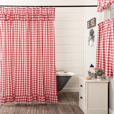 Annie Buffalo Red Check Ruffled Shower Curtain