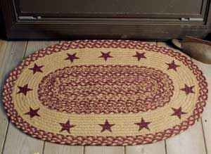 Burgundy and Tan Jute Rug with Stars (24 x 36 inch)