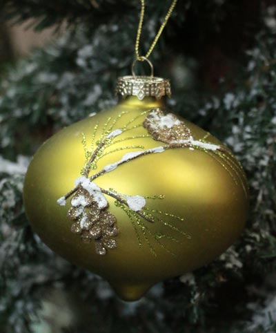 Lime Green Pinecone Onion Ornament