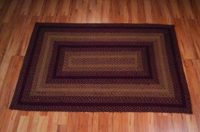 Vintage Star Burgundy Braided Rug Floor Runner, Rectangular (22 x 72 inch)