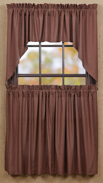 Curtains Ideas 36 inch cafe curtains : Bancroft Burgundy Check 36 inch Cafe Curtains, by VHC Brands - The ...