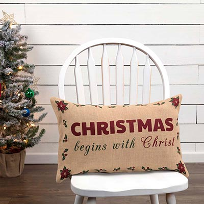 Begins with Christ Pillow (14x22)