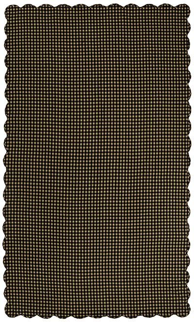 Black Check Tablecloth, Scalloped - 60 x 102 (Black and Tan)