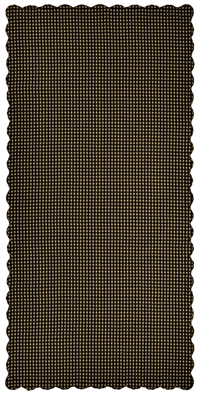 Black Check Tablecloth, Scalloped - 60 x 120 (Black and Tan)