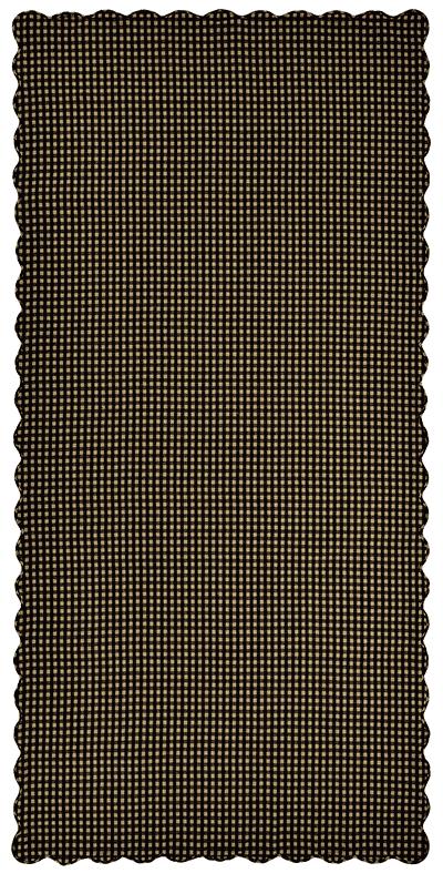 Black Check Tablecloth, Scalloped - 60 x 120 (Black and Tan)