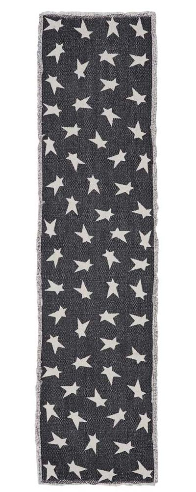 Black Primitive Star Table Runner, 54 inch