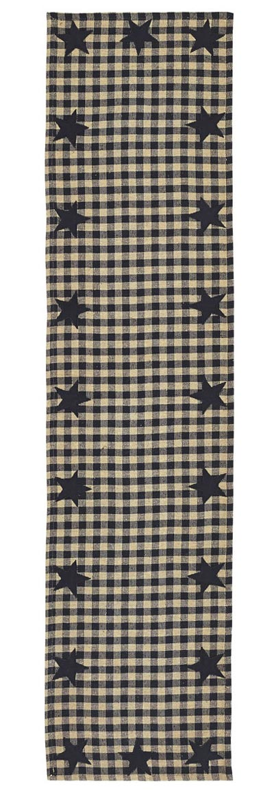 Black Star Table Runner, 54 inch (Black and Tan)