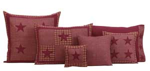 Applique Star Burgundy Pillow - Fabric